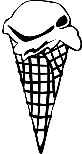 318x593 Ice Cream Cone (1 Scoop) (B And W) Clip Art