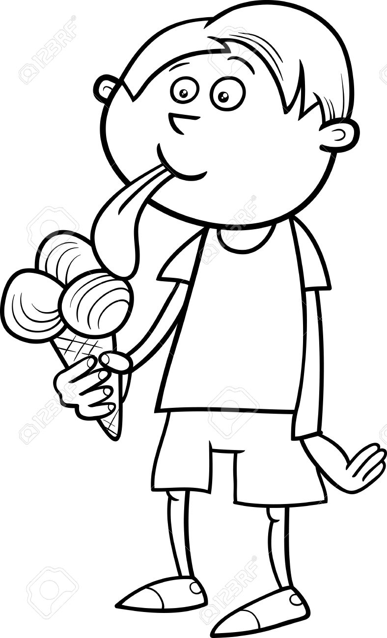 788x1300 Eating Ice Cream Clipart Black And White