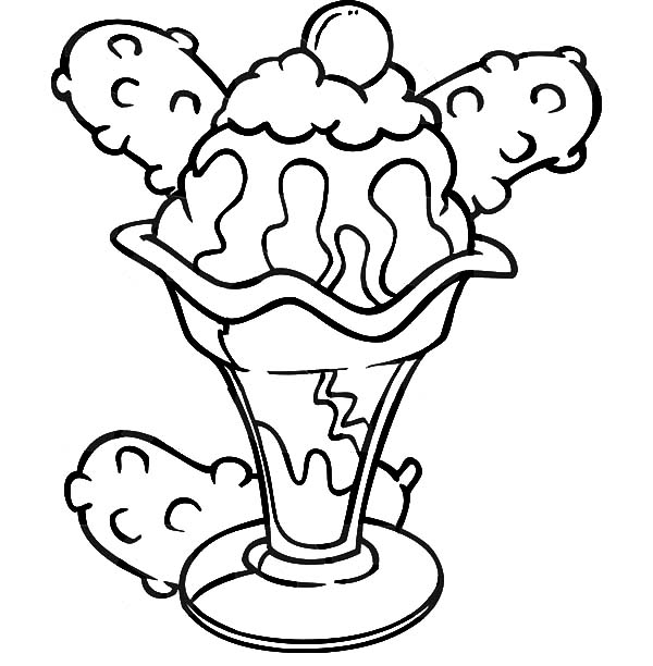 600x612 Ice Cream Sundae Coloring Pages Bulk Color