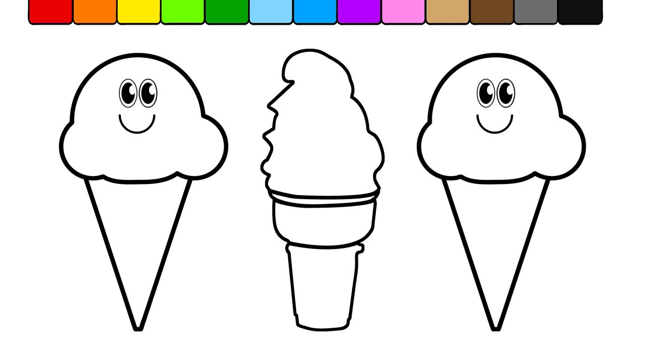 1280x720 Learn Colors For Kids And Color This Ice Cream Coloring Page 57