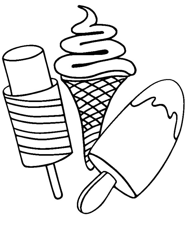 600x761 Various Type Of Ice Cream On Stick Coloring Pages Bulk Color