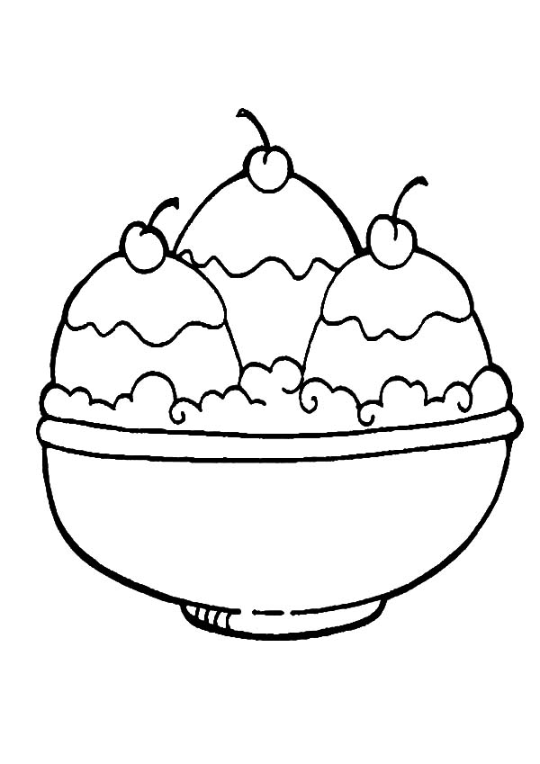 600x849 A Full Bowl Of Ice Cream Coloring Pages Bulk Color