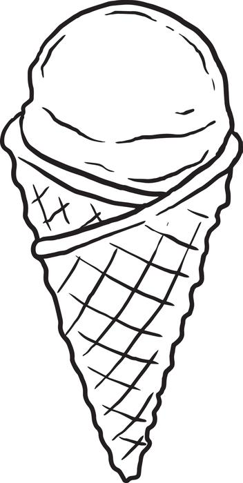 352x700 Drawn Waffle Cone Black And White