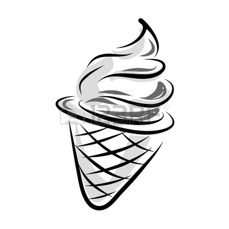 450x450 Hand Drawing Ice Cream In Black And White Style Royalty Free