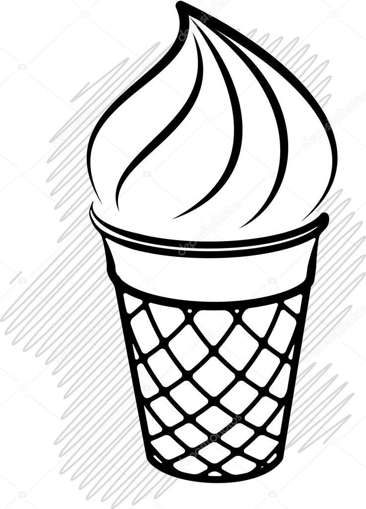 738x1024 Black And White Ice Cream Stock Vector Antonshpak