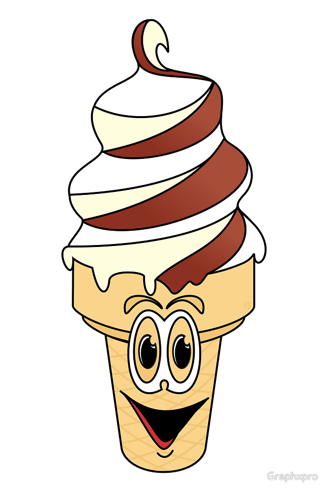 667x1000 Swirl Ice Cream Cone Cartoon By Graphxpro Redbubble