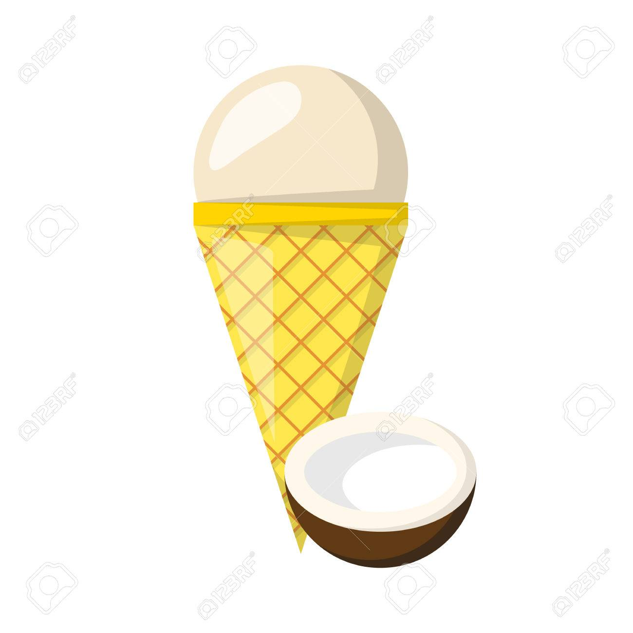 1300x1300 Vector Illustration With Cartoon Coconut Ice Cream Ball In Cone