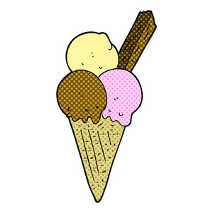 300x300 Freehand Drawn Cartoon Ice Cream Cone Royalty Free Stock Image
