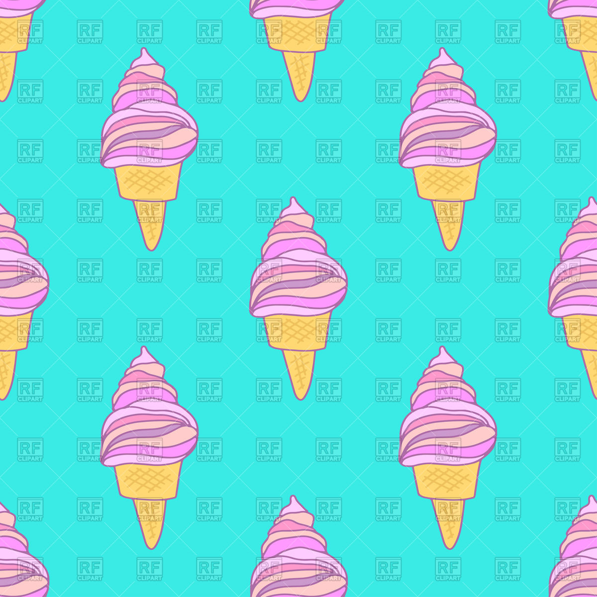 1200x1200 Cute Pink Ice Cream Cones Seamless Pattern Royalty Free Vector