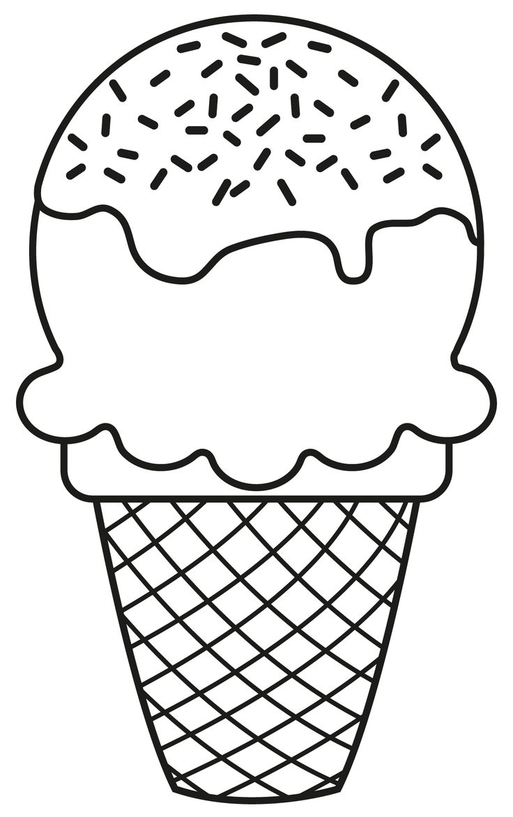 Ice Cream Cone Clipart Black And White