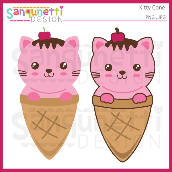 600x600 Sanqunetti Design Kitty Ice Cream Cone Clipart