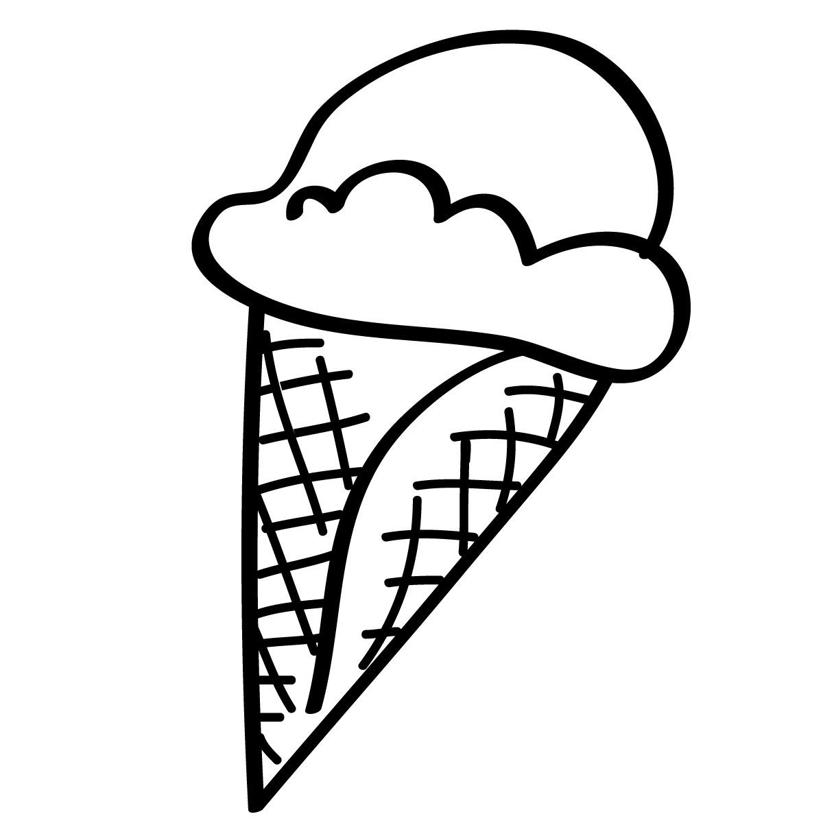 1200x1200 Blank Ice Cream Cone Outline Clip Art Clipart Image