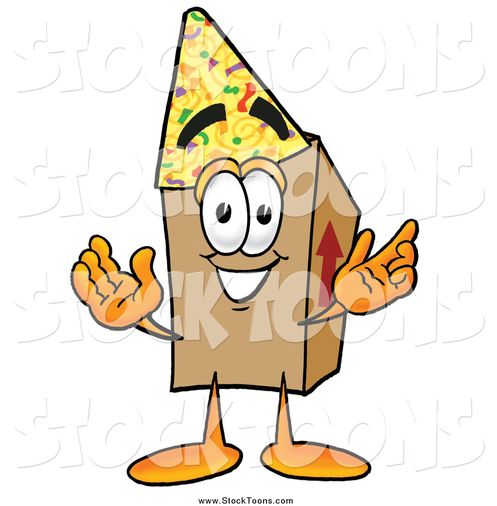 1024x1044 Stock Cartoon Of A Cardboard Box Character Wearing A Birthday