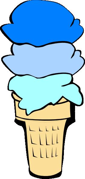 282x593 Ice Cream Cone Blue Scoops Clip Art