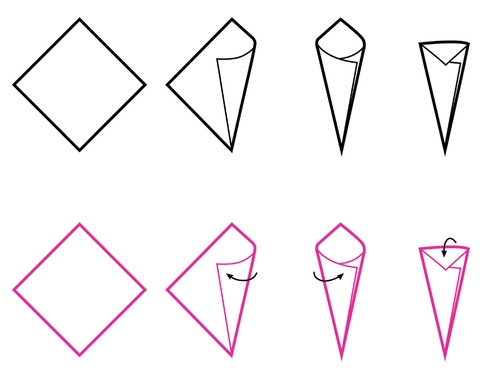 500x376 How To Make An Origami Cone Origami Cones Origami Ice Cream Cone