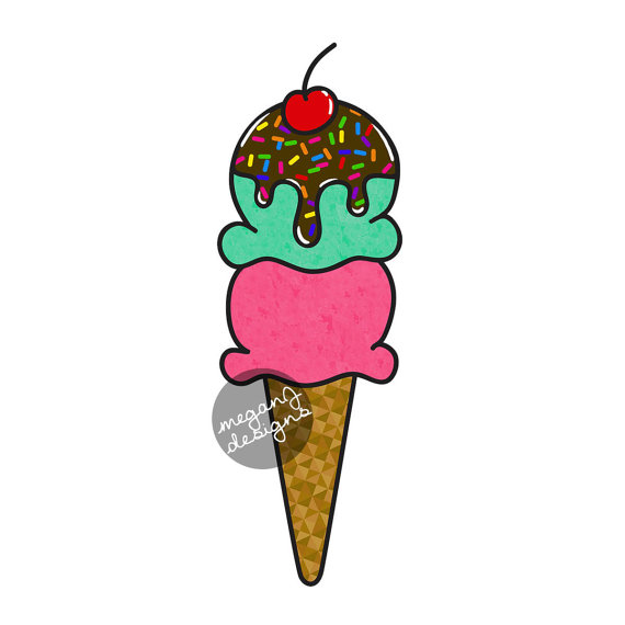570x570 Ice Cream Cone Car Window Decal Bumper Sticker Ice Cream Scoop