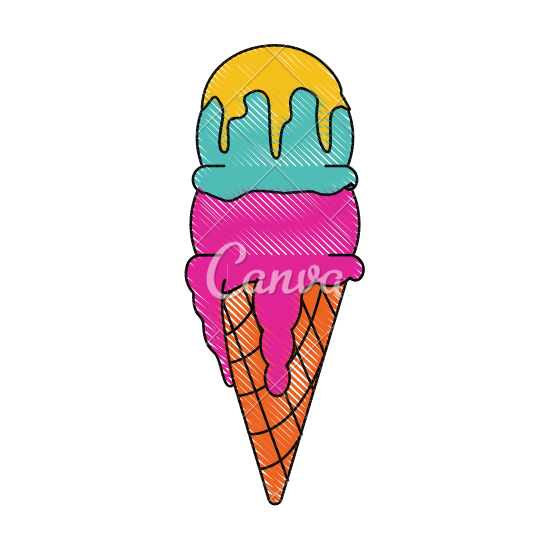 550x550 Ice Cream Cone With Two Scoops Icon Image