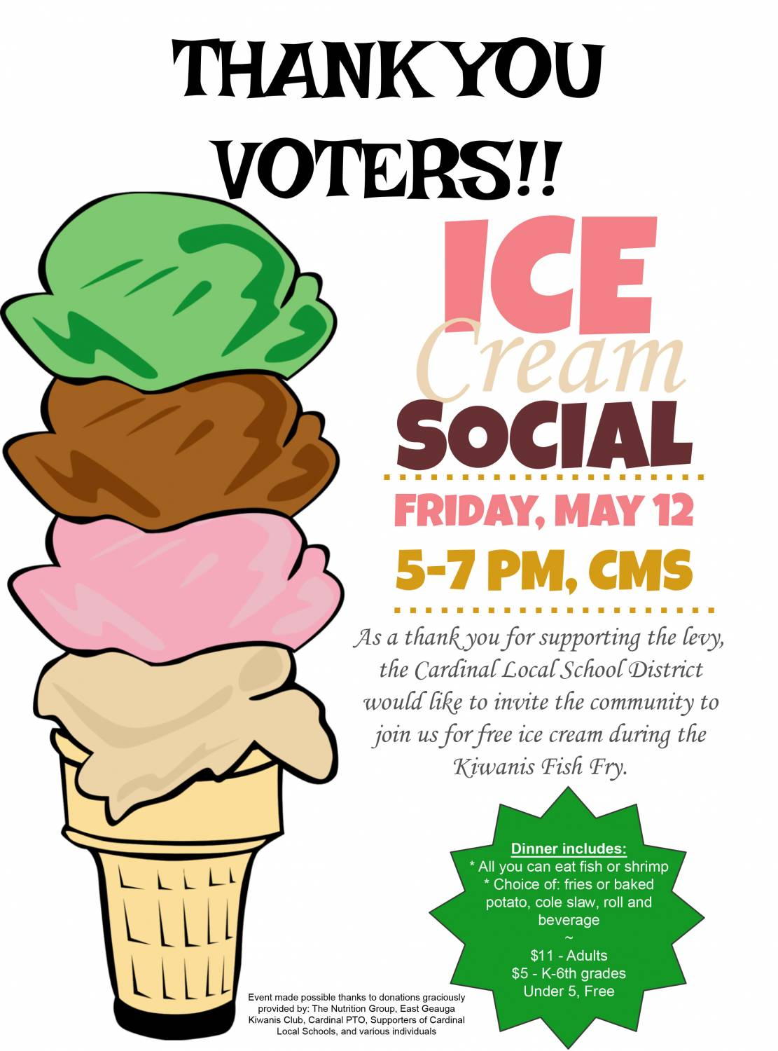 1111x1500 Ice Cream Social Thank You To Voters From Csd! Middlefield Village