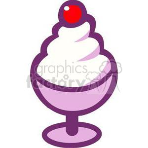 300x300 Royalty Free Cartoon Ice Cream Sundae With A Cherry 379368 Vector