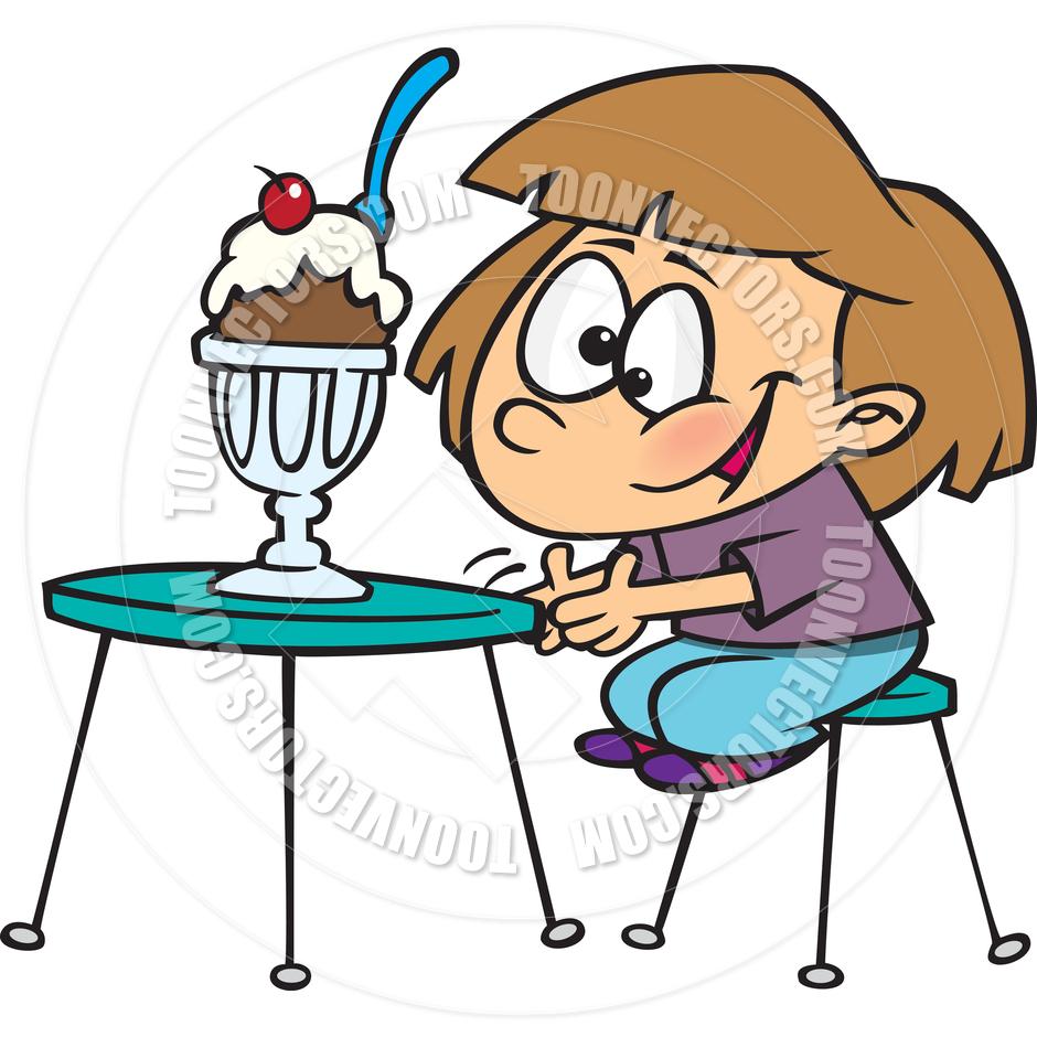 940x940 Cartoon Girl And Ice Cream Sundae By Ron Leishman Toon Vectors