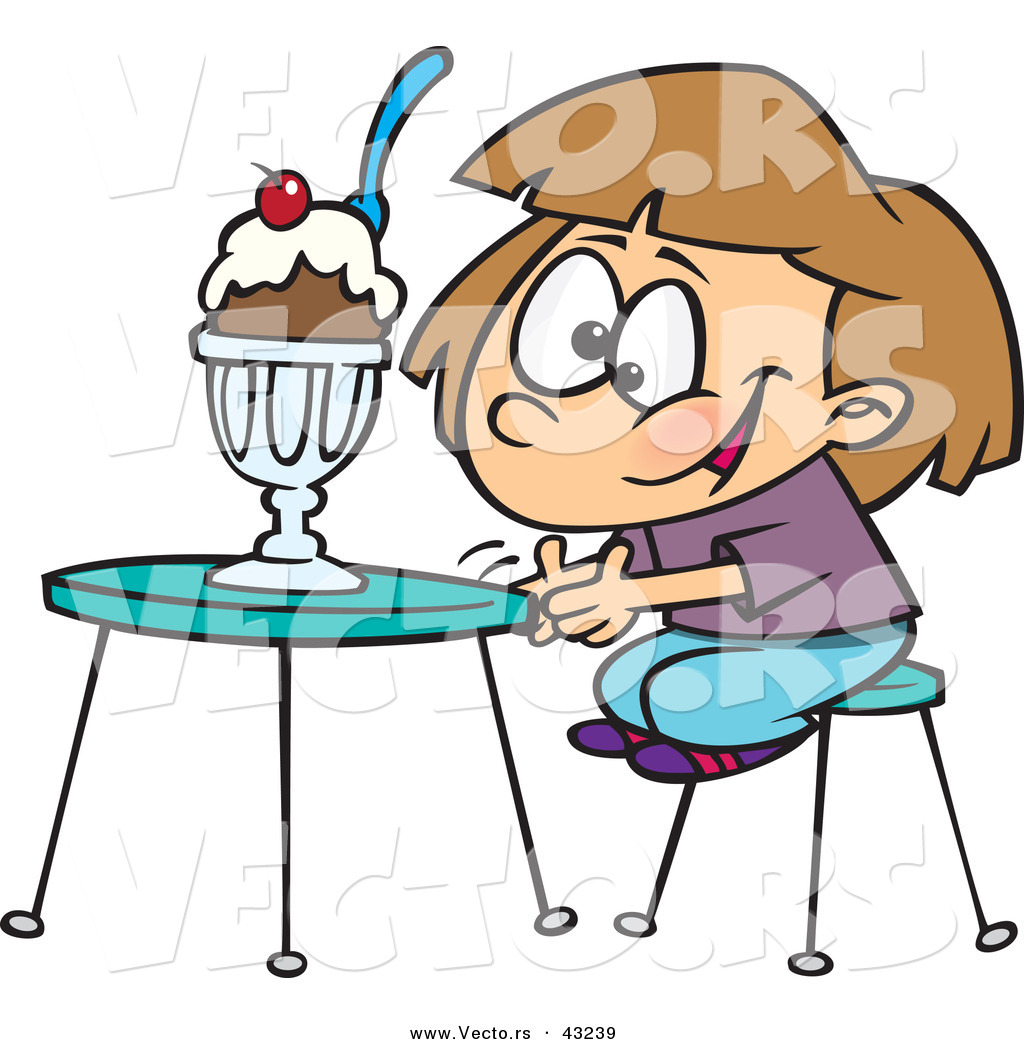 1024x1044 Vector Of A Happy Cartoon Girl Sitting Infront Of A Ice Cream