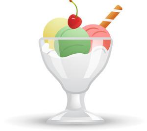 300x268 Three Scoop Ice Cream Sundae Icon Royalty Free Stock Image