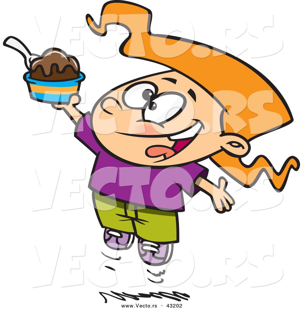 1024x1044 Vector Of A Happy Cartoon Girl Jumping With An Ice Cream Sundae By