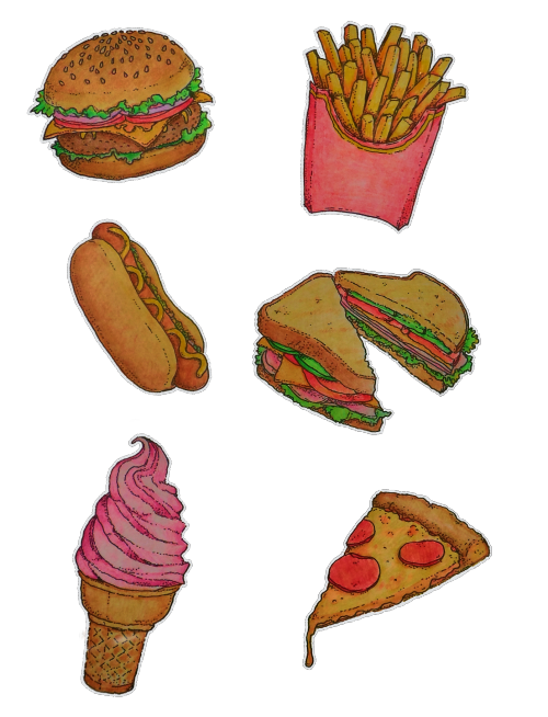 500x654 Food Pizza Ice Cream French Fries Stickers Sandwich Fast Food