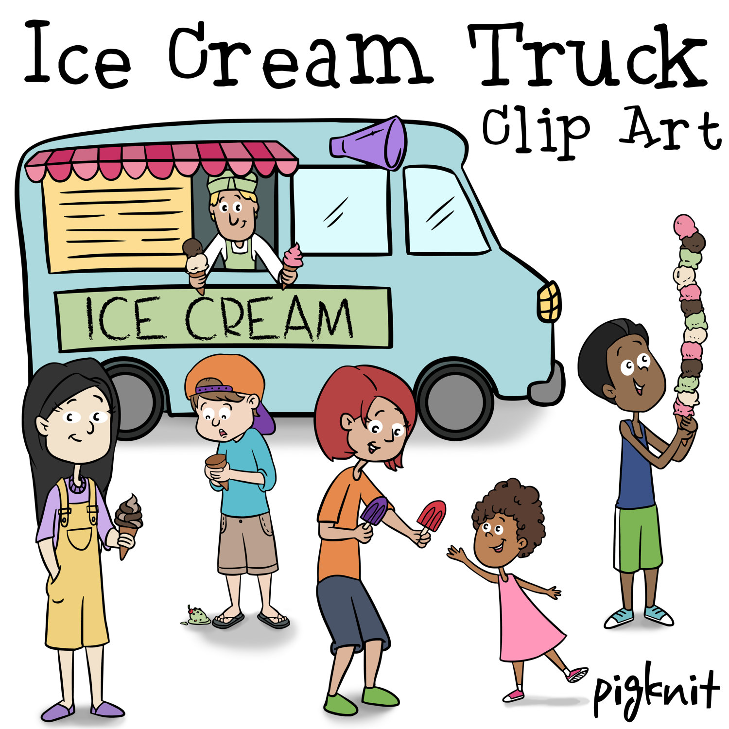 1500x1500 Ice Cream Truck Clip Art, Ice Cream Clip Art, Summer Kids, Summer