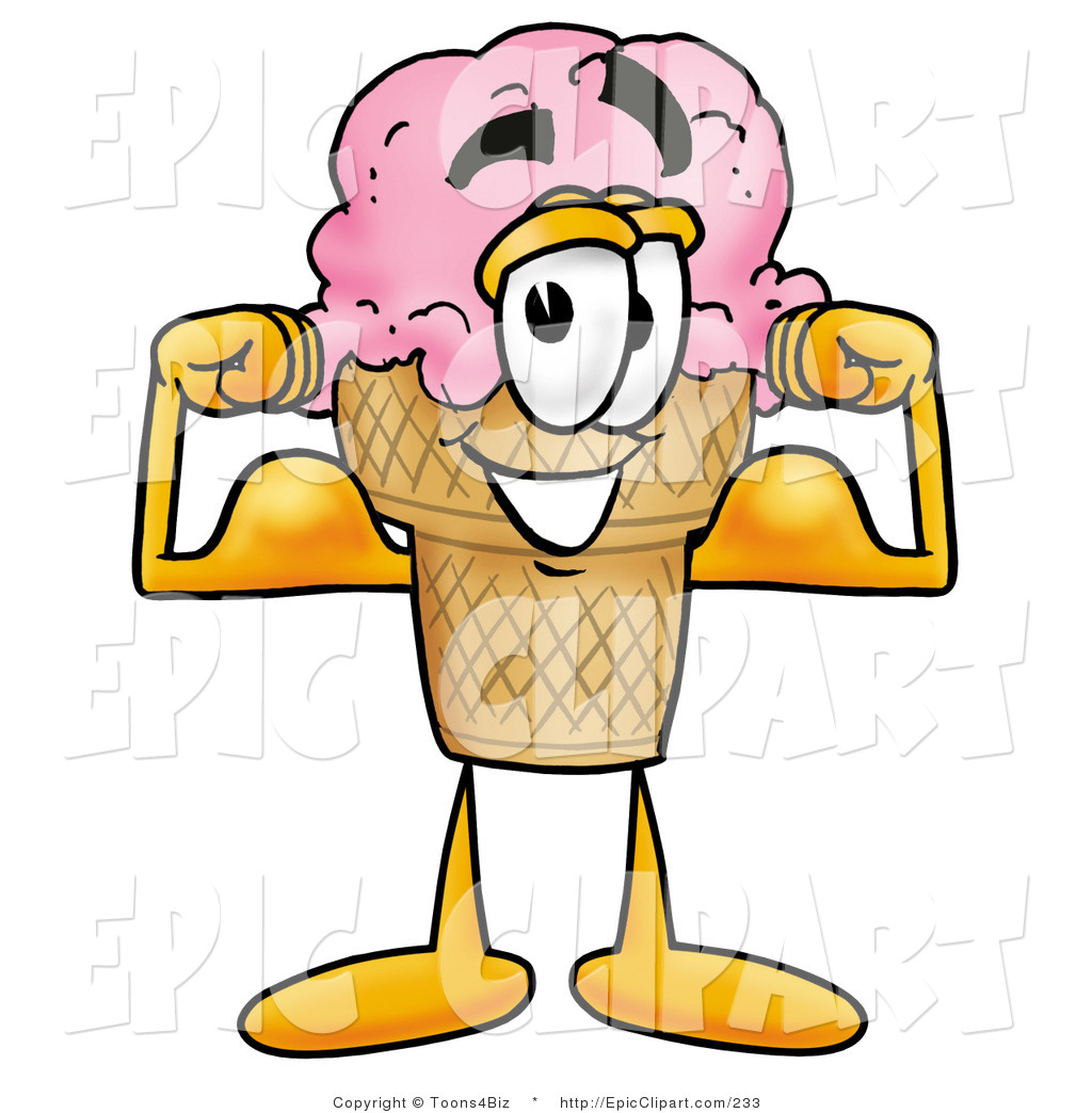 1024x1044 Clip Art Of A Strong Ice Cream Cone Mascot Cartoon Character