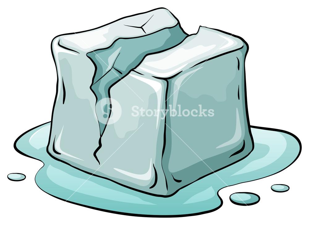 1000x727 Broken Ice Cube Melting Illustration Royalty Free Stock Image