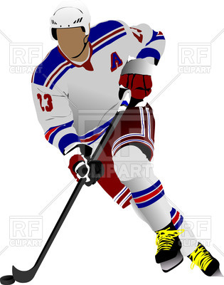 315x400 Colored Silhouette Of Ice Hockey Player In Action Royalty Free