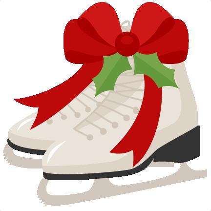 432x432 Christmas Ice Skates Scrapbook Cut File Cute Clipart Files