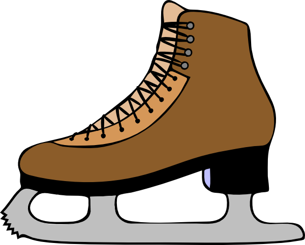 600x483 Ice Skate Brown Shoe Clipart