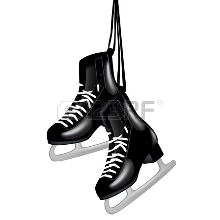 448x450 Pair Of Black Ice Skates Hanging Isolated On White Royalty Free