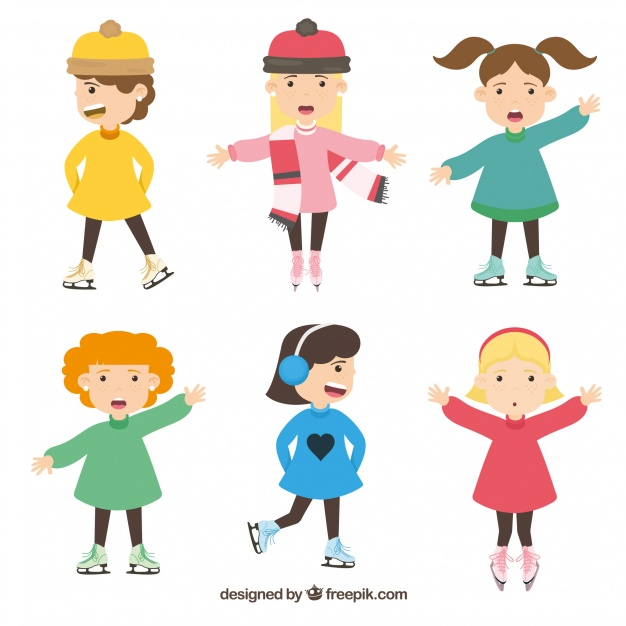 626x626 Winter Collection Of Six Girls With Ice Skates Vector Free Download