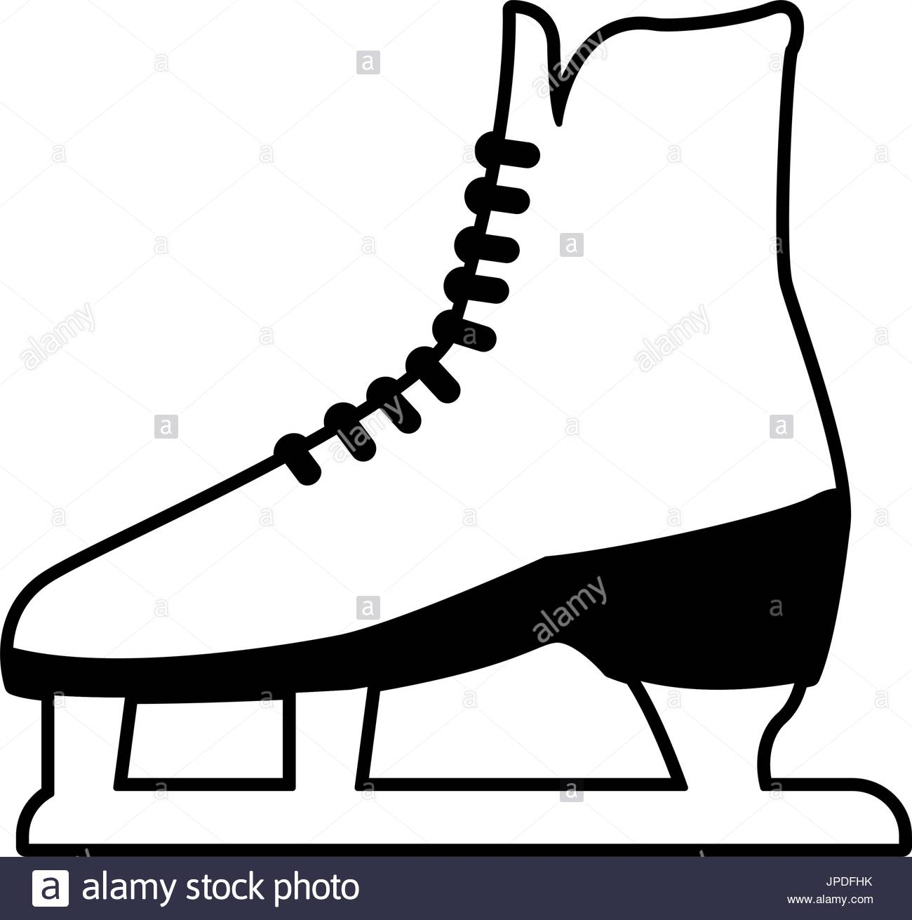 1300x1311 Classic Ice Figure Skates Sport Equipment Side View Stock Vector