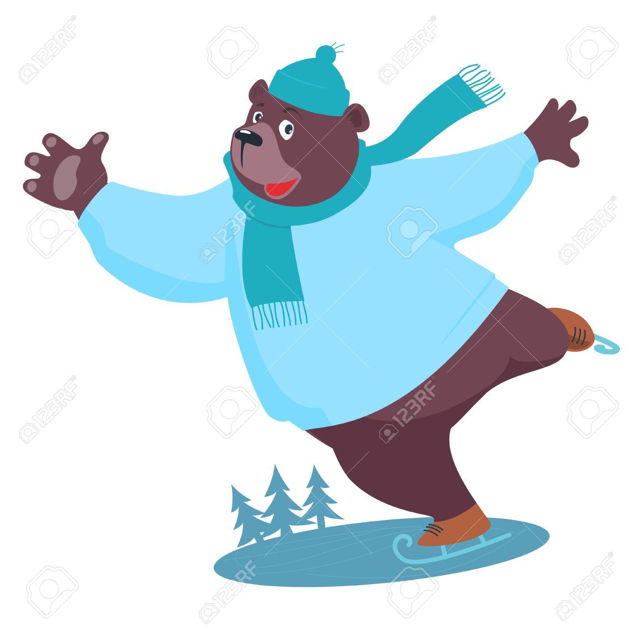 1300x1300 Cartoon Bear Ice Skating Royalty Free Cliparts, Vectors, And Stock