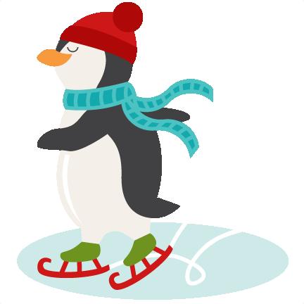 432x432 Ice Skating Penguin Svg Scrapbook Shape Winter Svg Cut File