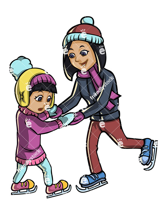 585x755 Mother And Son Ice Skating Together Cartoon Vector Clipart