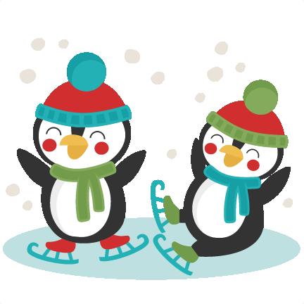 432x432 Penguins Ice Skating Svg Scrapbook Cut File Cute Clipart Files