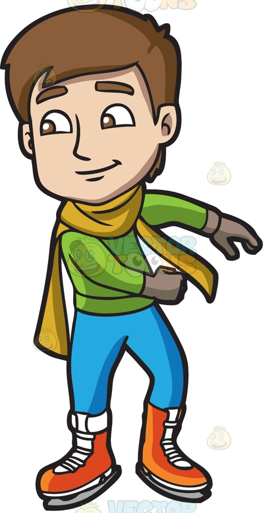 528x1024 A Male Ice Skater Practices His Moves Cartoon Clipart
