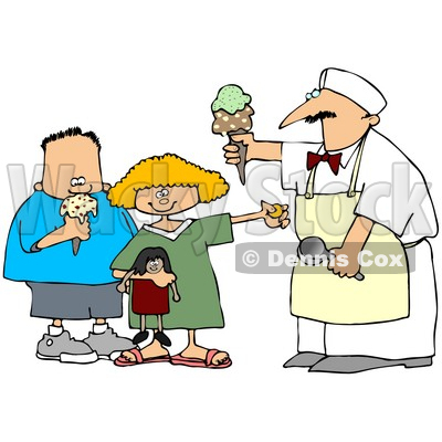 400x400 Free (Rf) Clipart Illustration Of A Little Girl And Boy Buying Ice