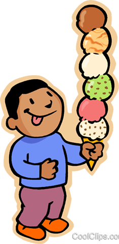 235x480 boy with six scoop ice cream cone Royalty Free Vector Clip Art