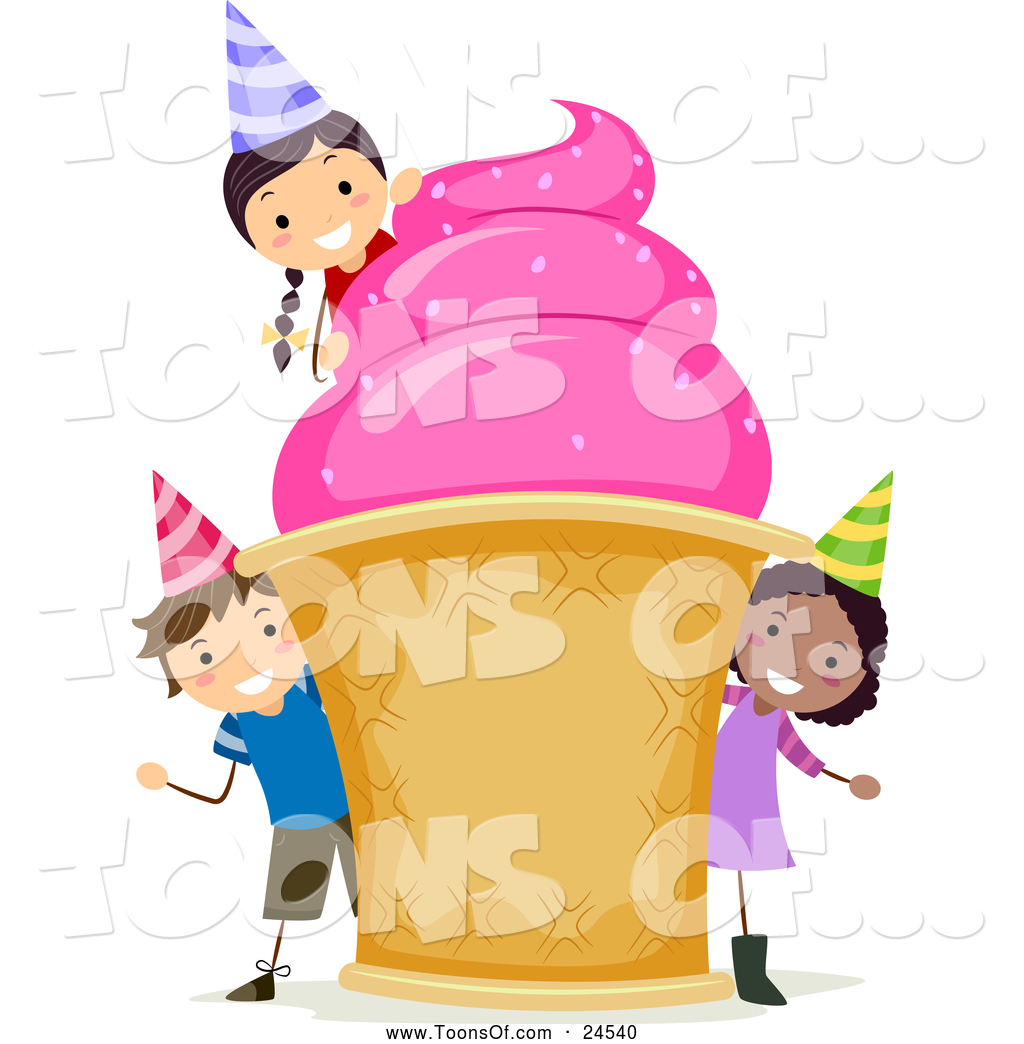 1024x1044 Cartoon of Diverse Birthday Kids with a Giant Ice Cream Cone by