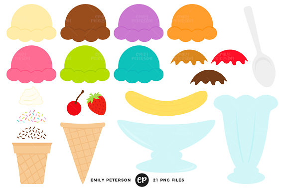 570x379 Ice Cream Sundae Clip Art, Ice Cream Kit Clipart, Build Your Own