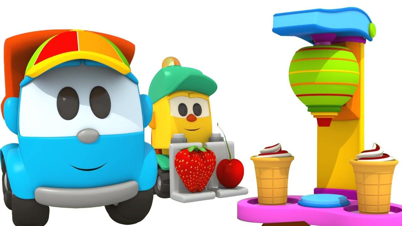 1280x720 Leo the truck ice cream machine. Cartoon for kids.