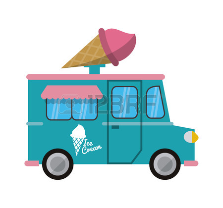 450x420 Truck Ice Cream Delivery Fast Food Urban Business Icon. Flat