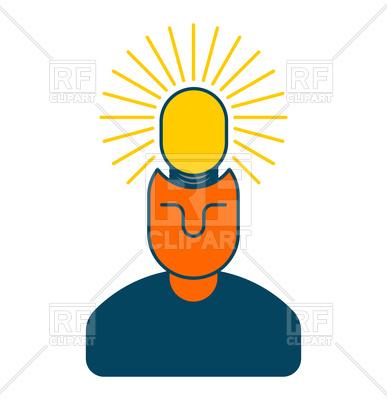 387x400 Creative Idea. Smart Man With Light Bulb In Head. Royalty Free