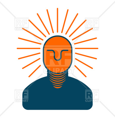 387x400 Creative Idea. Smart Man With Light Bulb In His Head. Royalty Free